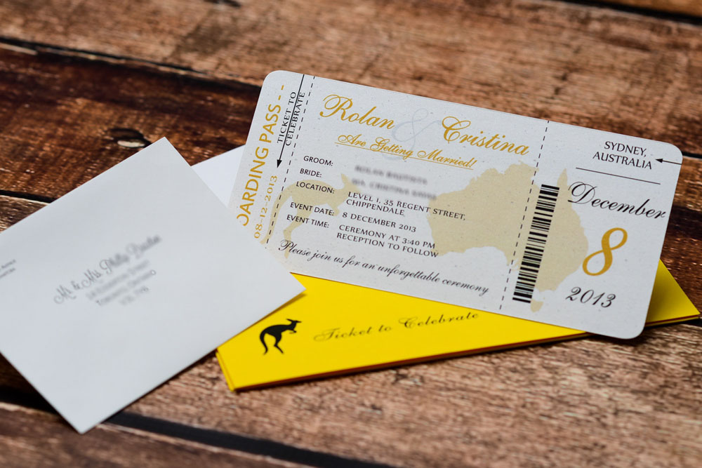 Gold Australian Themed Boarding Pass Wedding Invitations EMPIRE