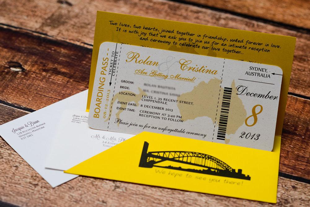 Gold Australian Themed Boarding Pass Wedding Invitations EMPIRE