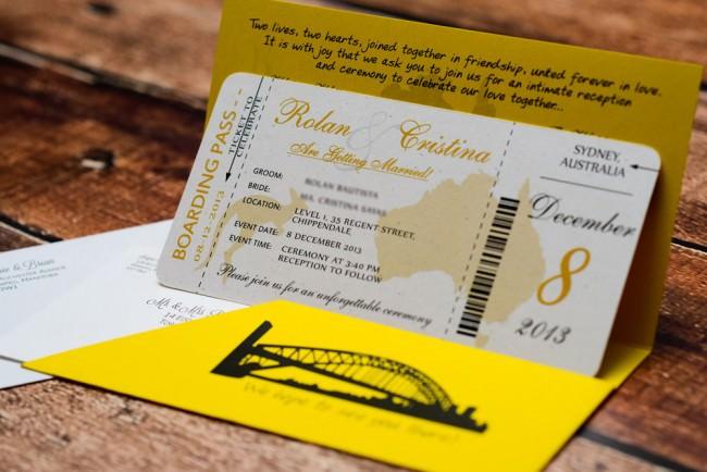 Yellow Boarding pass wedding inviation Austrailia (4)