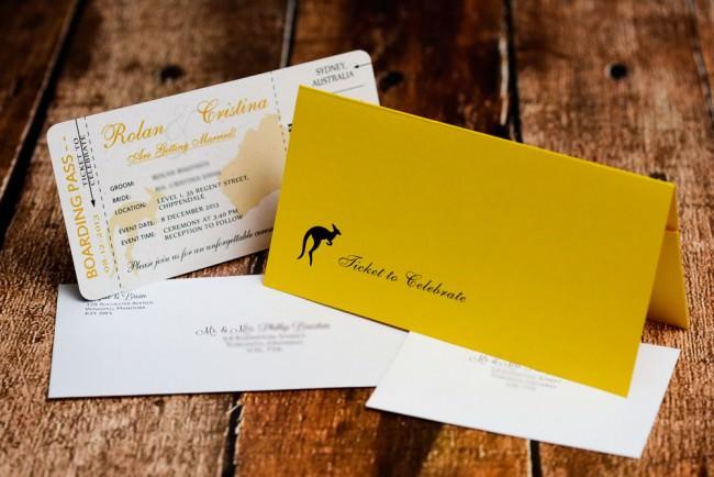 Yellow Boarding pass wedding inviation Austrailia (5)