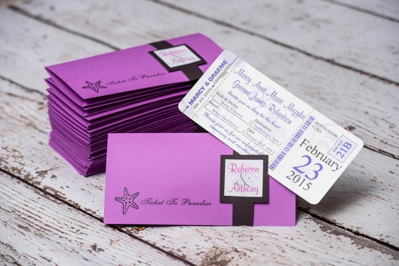 custom destination boarding pass wedding invitations from
