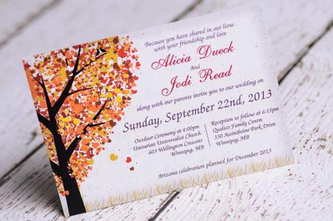 Canadian Wedding Invitations: Custom Fall Wedding Invitations Canada