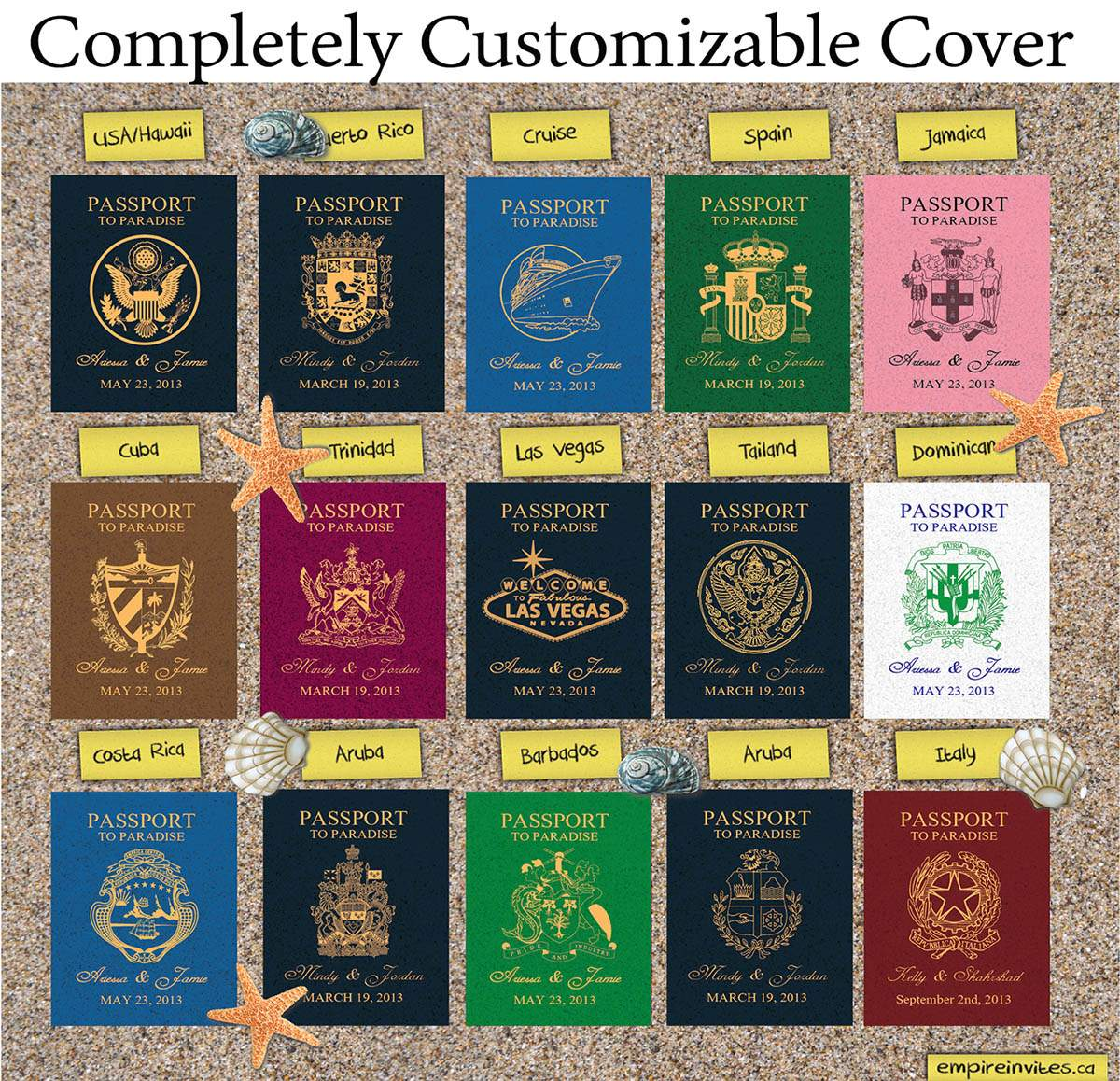 Custom Passport Wedding Invitations Canada Empire Invites