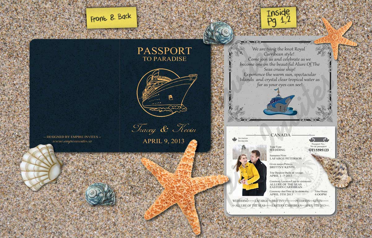 Wedding Invitations In Canada: Custom Destination Passport Wedding Invitations From