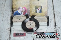 Custom Designed Vinyl Record Style Wedding Invitations