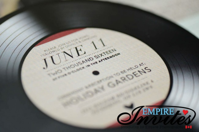 Custom Designed Vinyl Record Style Wedding Invitations EMPIRE INVITES