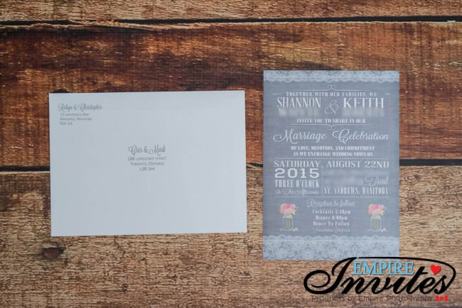 printed envelopes and invite
