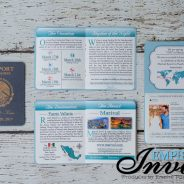 Grey & Turquoise Passport Wedding Invites to Marival Resort in Mexico