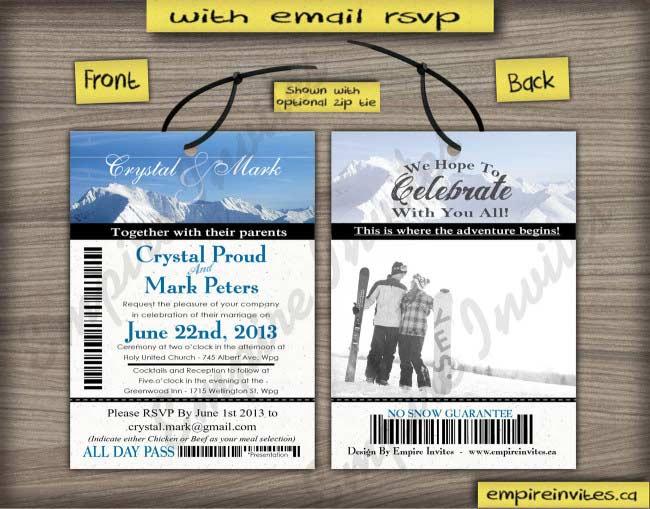 ski pass / lift ticket invitations