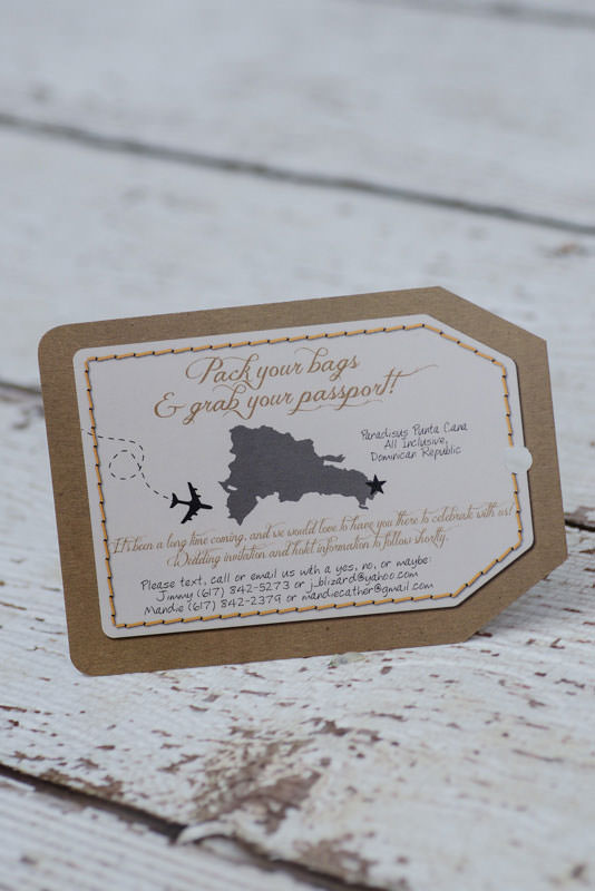 custom luggage tag destination wedding invitations canada