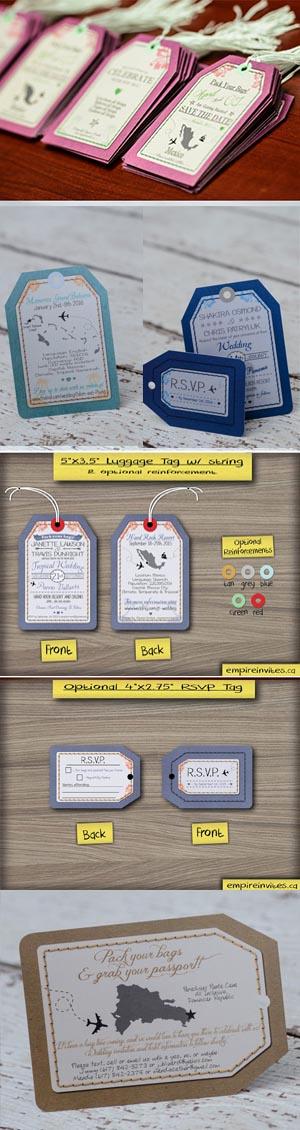 luggage tag destination wedding invitations From Winnipeg, Canada ...