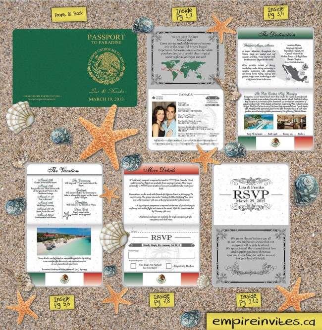 Wedding Invitation Envelopes Canada: Custom Destination Passport Wedding Invitations Canada