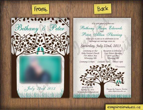 Wedding Invitations trees birds