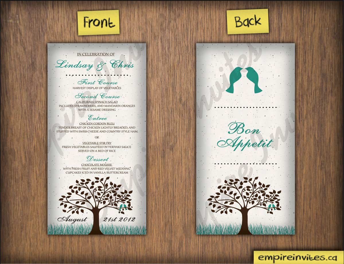 Custom wedding menu cards Canada | Empire Invites, Winnipeg