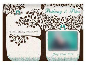 Oliver  –  Folded Love Bird Wedding Invitation