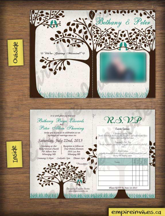 Oliver trees birds folded love bird wedding invitation