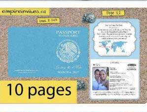 Destination Passport Wedding Invitations 2 (4x5inch -10 Page)