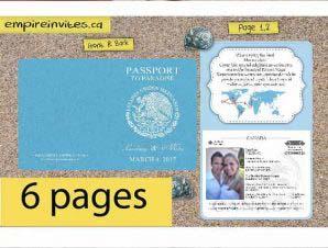 Destination Passport Wedding Invitations #2 (6 Page)