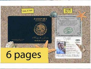 Destination Passport Wedding Invitations (4x5inch -6 Page)