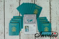 Peacock Blue Passport Wedding Invitations to Sandals Grand St. Lucia