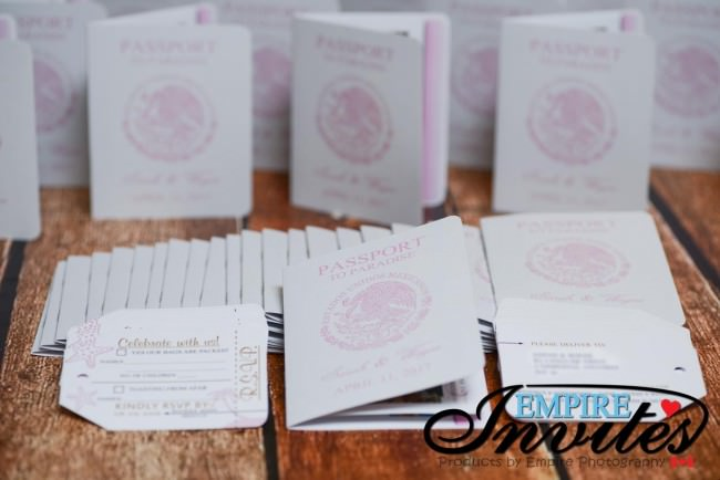 pink and gold passport wedding invites azul fives mexico (2)