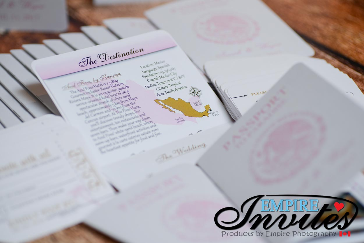 pink and gold passport wedding invites azul fives mexico (5 ...