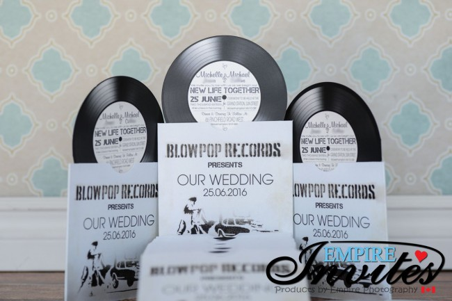 white vintage vinyl record themed wedding invitations - empire invites, Wedding invitations
