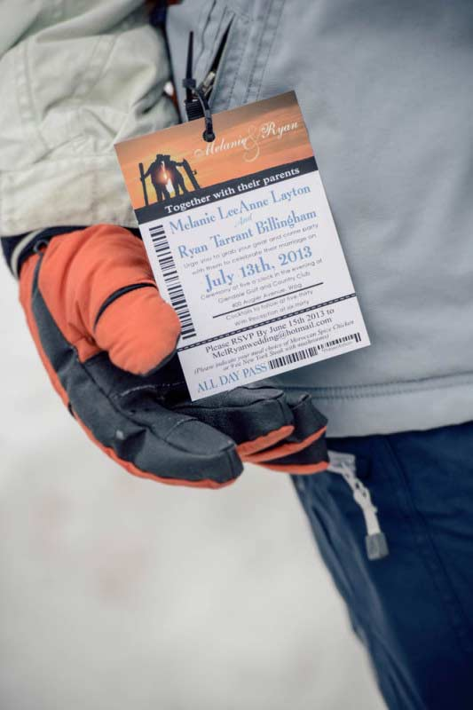 Custom ski pass lift ticket save the date wedding ...