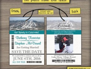 Ski Pass / Lift Ticket Save The Date Wedding Passes STYLE 2
