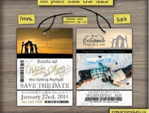 Ski Pass / Lift Ticket Save The Date Wedding Passes