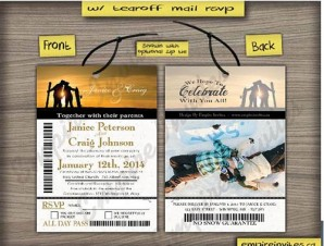 Ski Pass / Lift Ticket Wedding Invitations