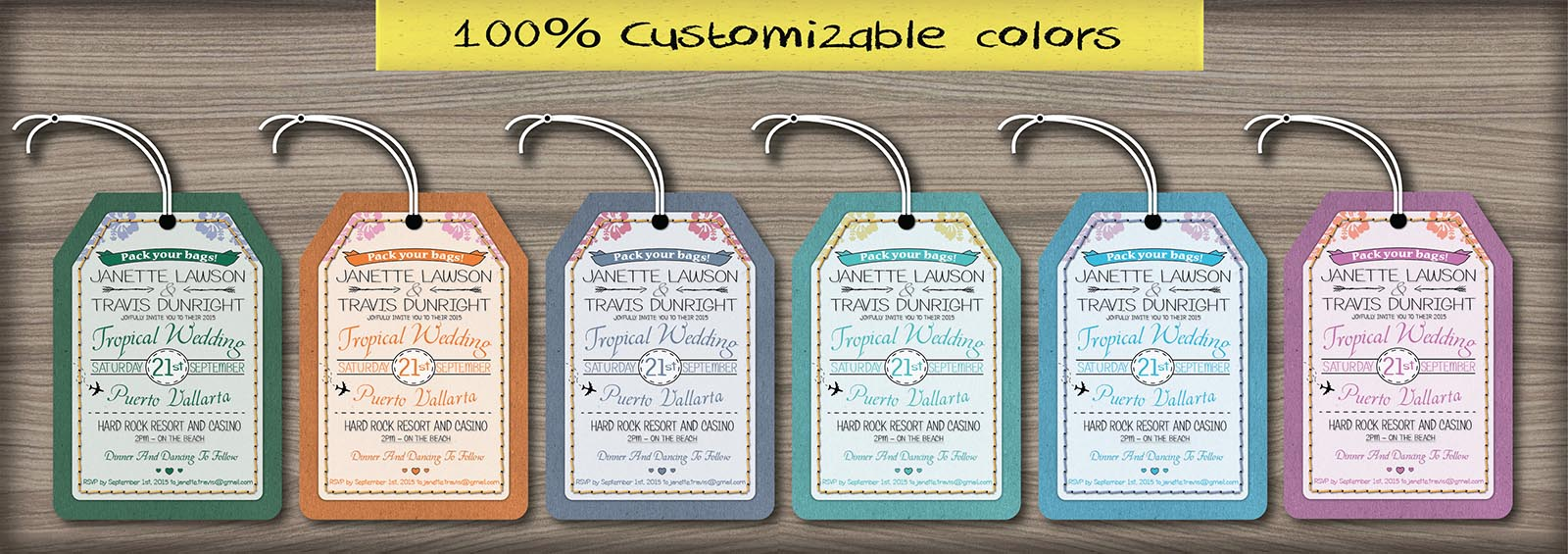 Custom luggage tag destination wedding invitations Canada | Empire ...