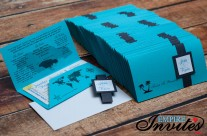 teal Boarding pass wedding invites to Royalton White sands Jamaica