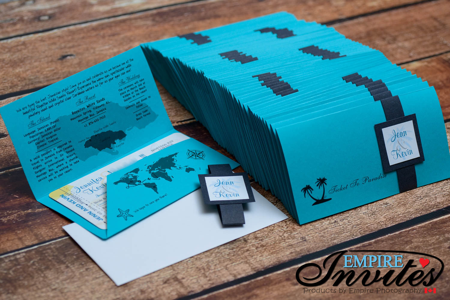 teal Boarding pass wedding invites to Royalton White sands ...