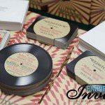 vintage record wedding invitations  (2)