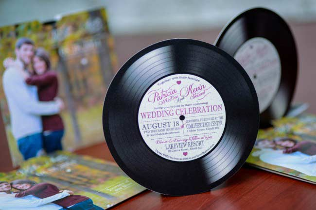 Custom vinyl record wedding invitations Canada Empire Invites