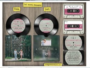 Custom Acoustic vinyl record wedding invitations Canada Empire Invites