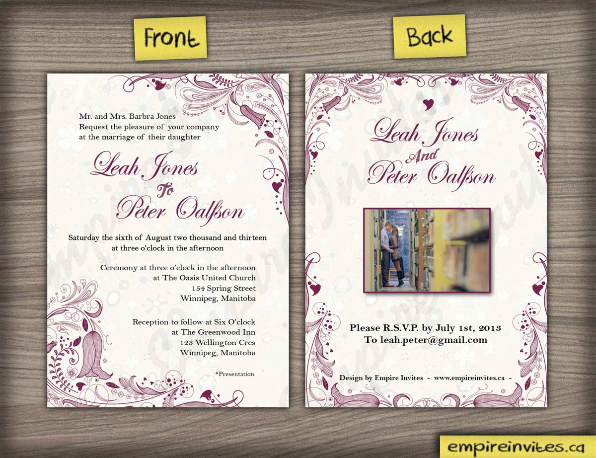 Custom floral wedding invitations canada empire invites for Floral wedding invitations canada