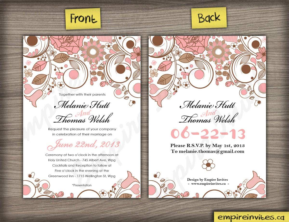 Custom floral wedding invitations Canada | Empire Invites