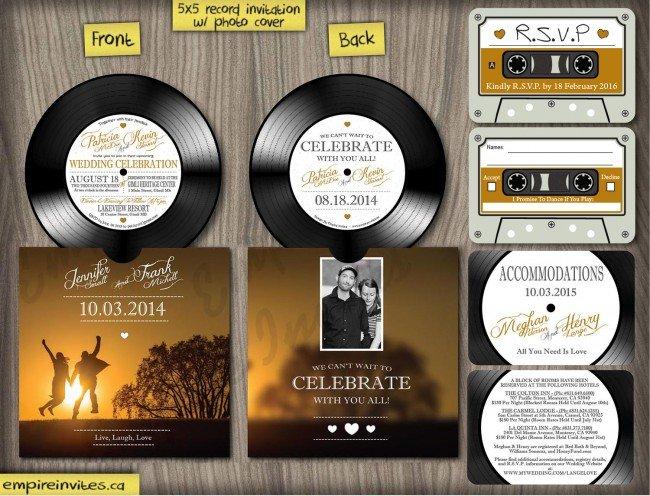 Vinyl record music wedding invitation