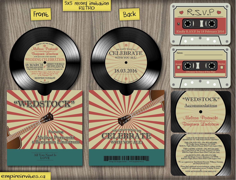 Record Wedding Invitations: Custom Vinyl Record Music Wedding Invitations From
