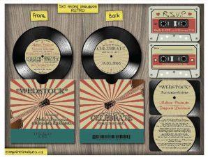 5″ Vintage Vinyl Record Wedding Invitations