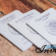 Pearl White Passport Invitations Translated in 3 Languages