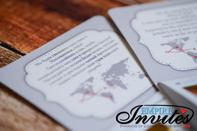 Pearl White Passport Invitations Translated in 3 Languages ...