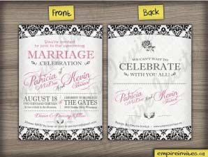 Windsor – Damask Vertical Wedding Invitation