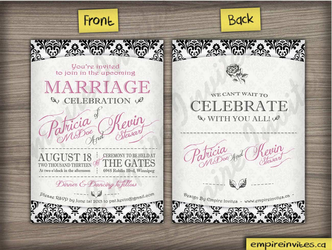 Canadian Wedding Invitations: Custom Vinatge Damask Wedding Invitations Canada