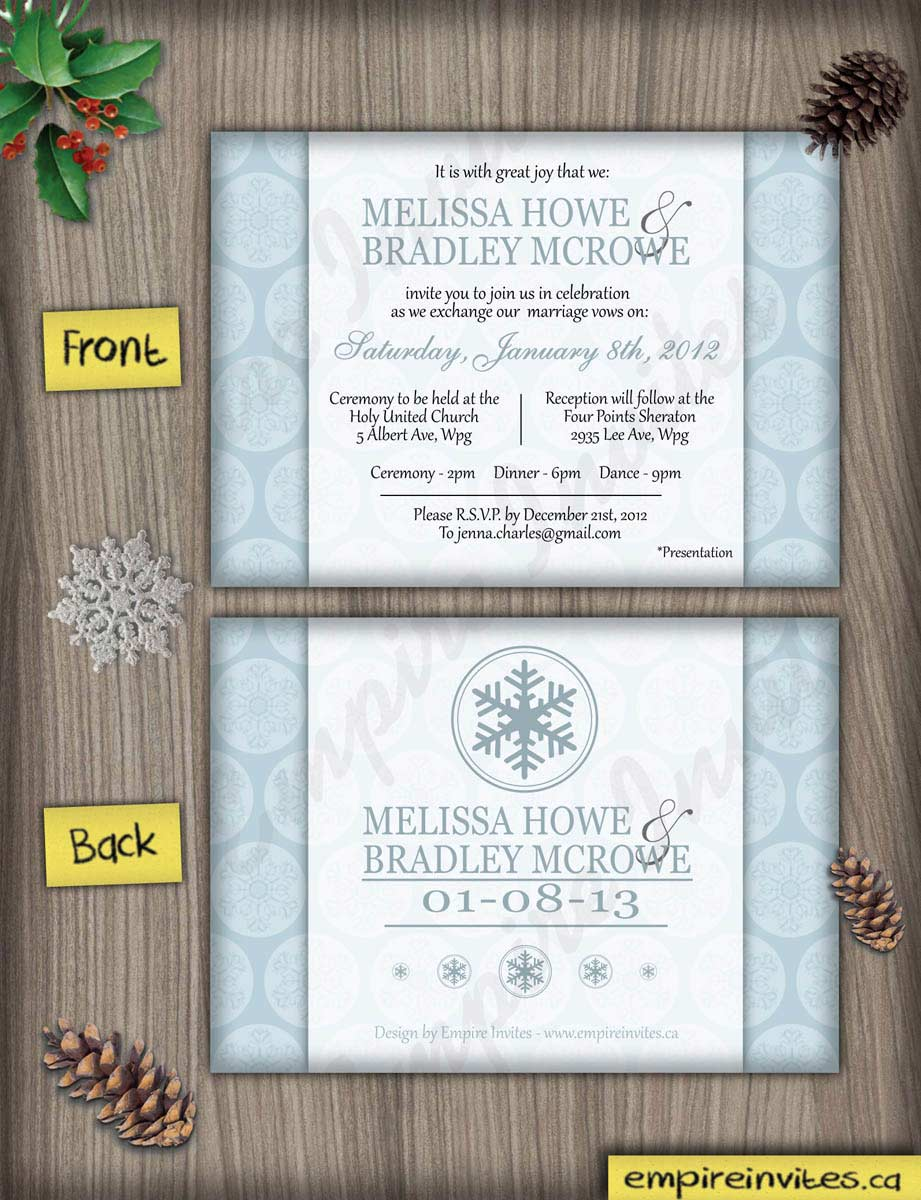 Custom Winter Wedding Invitations Canada Empire Invites Winnipeg