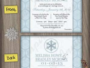 Winter Wedding Invitation (#5) Snowflake