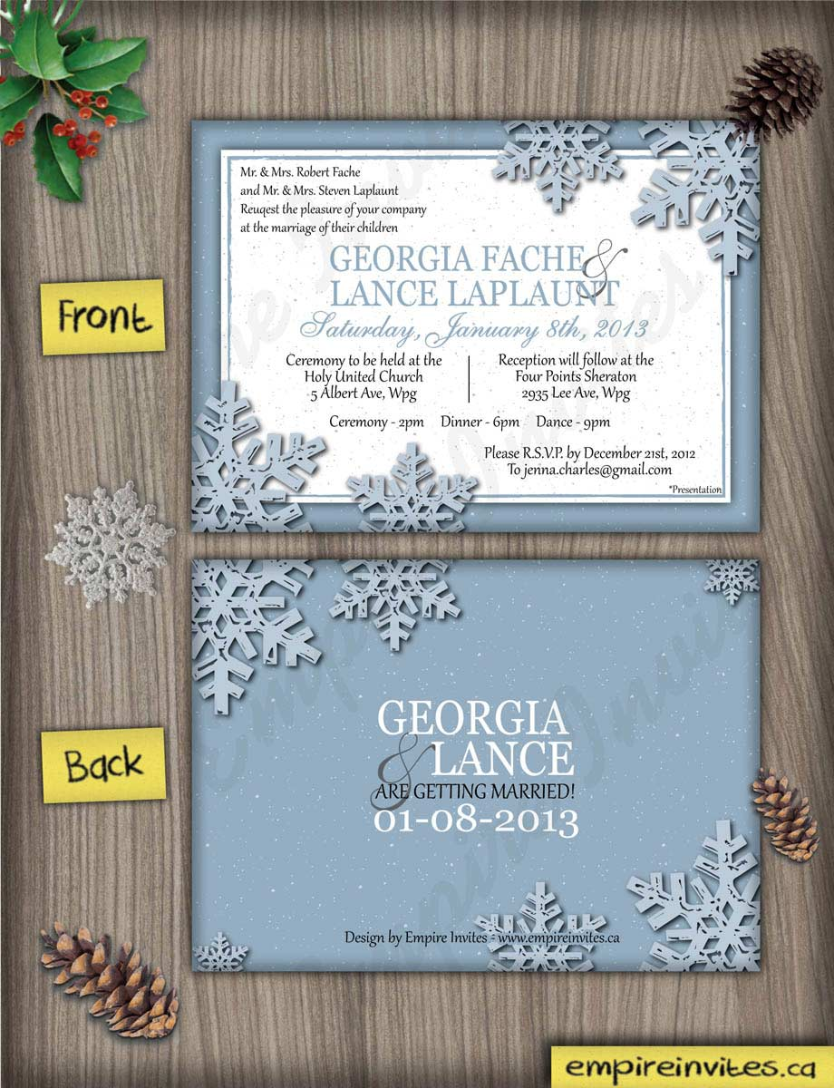 Custom winter wedding invitations Canada | Empire Invites