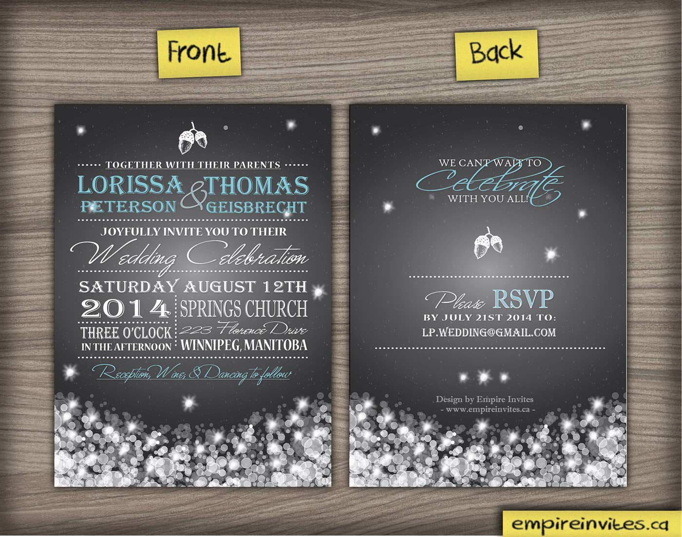 Custom winter snowfall wedding invitations From Winnipeg, Canada ...
